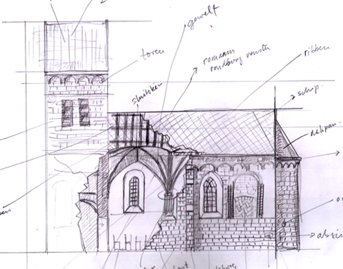 sketch for church infographic (South elevation, cutaway)