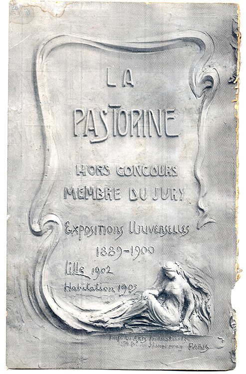 La Pastorine - half of an early 20th C. advertisement for sanitary equipment