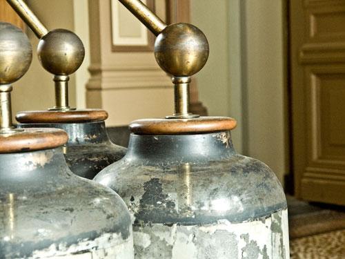 Leyden jars, closeup