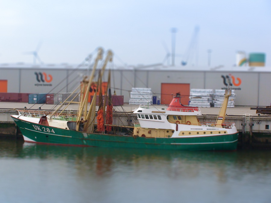 Fishing trawler moored in the port of Eemshaven (Netherlands)