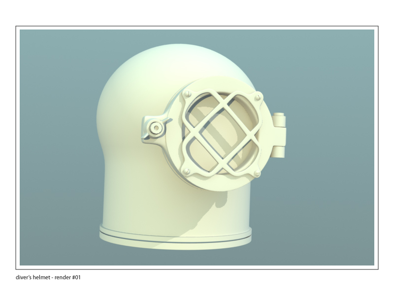divers helmet, unfinished 3d model