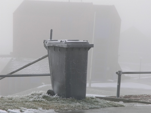 container in the fog