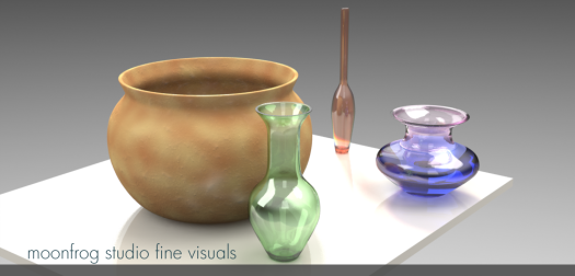 render with glass vases and pot