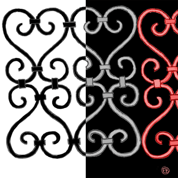 semi-abstract, iron gate pattern