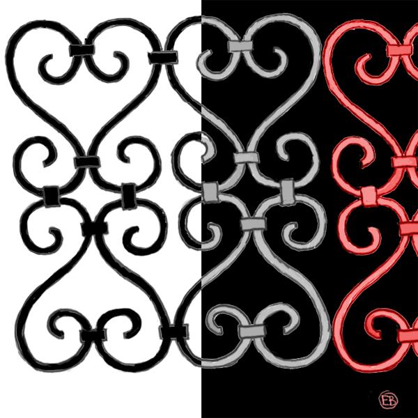 semi-abstract, iron gate pattern
