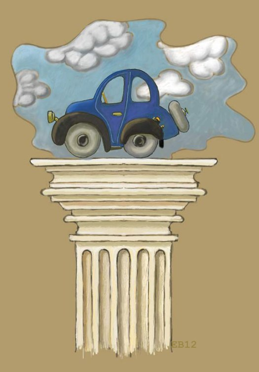 Pedestal with automobile