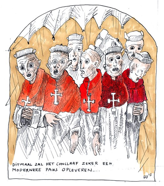 "Cartoon, eery cardinals in conclave, text reading: ""This time the conclave will surely yield a more modern pope..."""