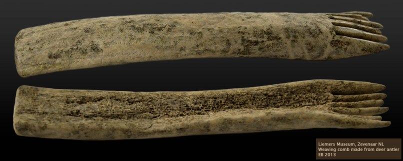 Weaving comb from deer antler, coll. Liemers Museum, Zevenaar, NL