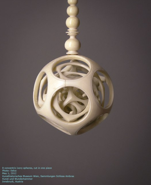 Concentric ivory spheres, cut in one piece