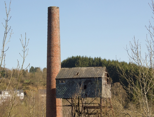 A different perspective on the chimney and elevator tower