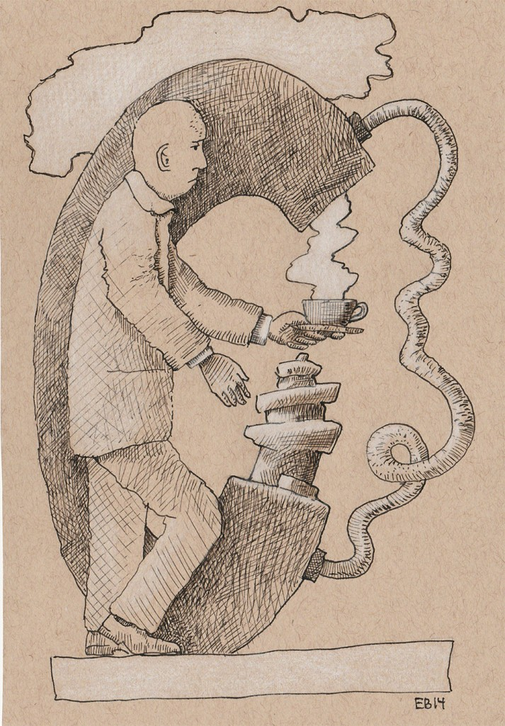 drawing of a man in front of a big C with a cup of coffee in his left hand