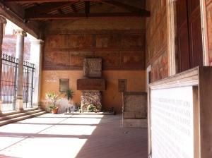 San Lorenzo fuori le Mura, in the distance the tomb of Alcide de Gasperi