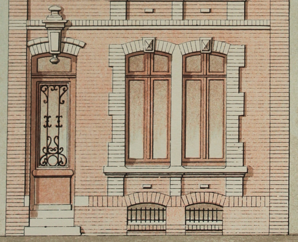 Architectural rendering of a 19th century French town house