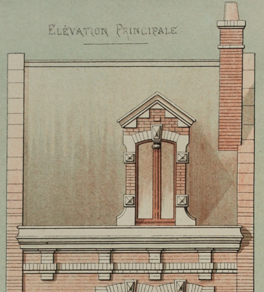 Maison d'habitation, from the collection Petites Constructions Françaises (ca. 1893). Detail, roof, mansarde, and chimney,