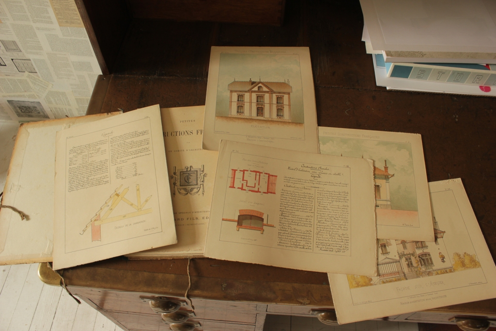 Some loose pages from the portfolio 'Petites Constructions Françaises' (ca. 1893).