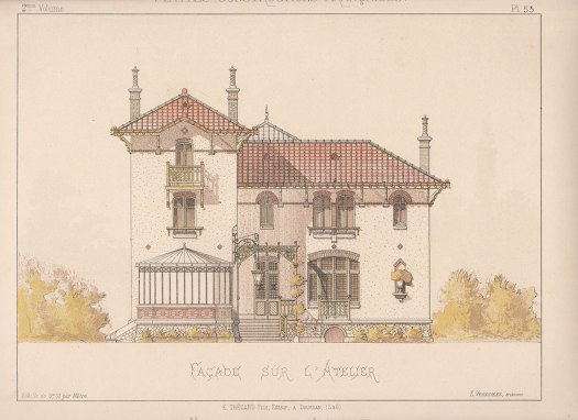 Architect's house (Maison pour architecte) from the portfolio 'Petites Constructions Françaises' (ca. 1893).