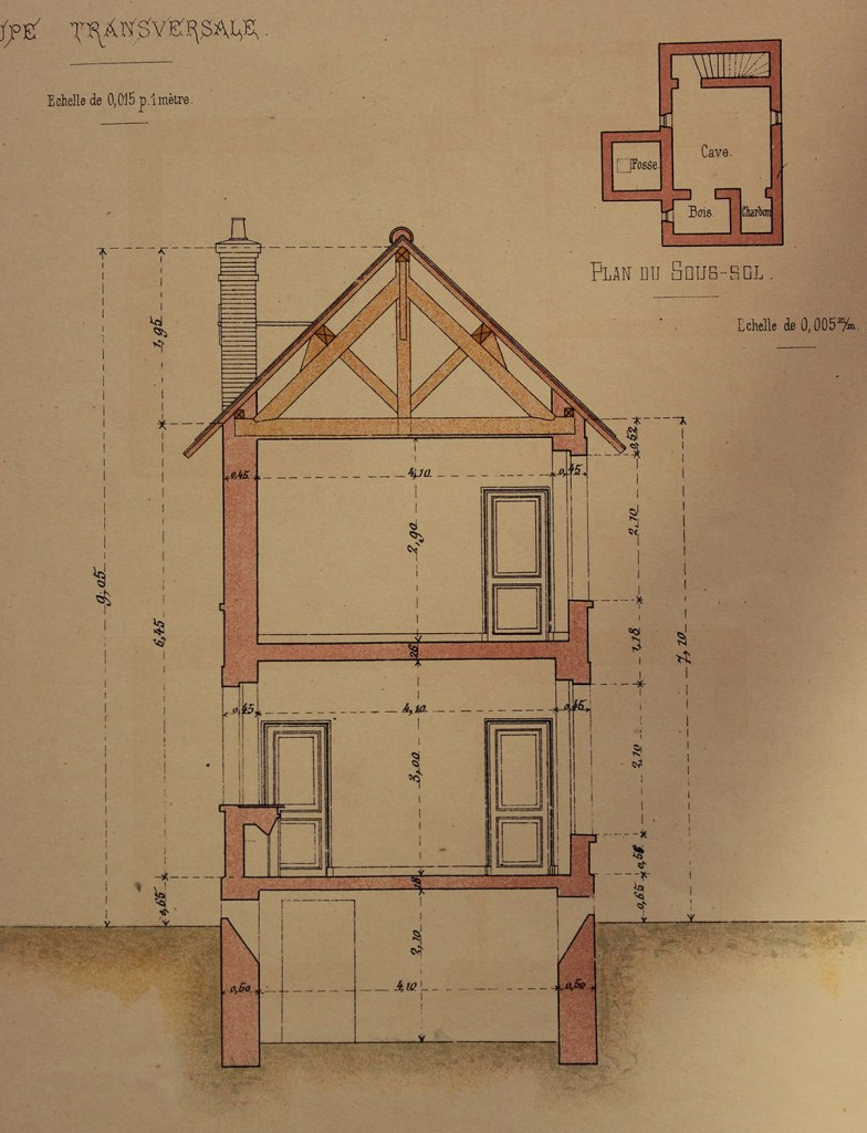 Section of the maison d'habitation, from the portfolio 'Petites Constructions Françaises' (ca. 1893). Some plans, and sections.