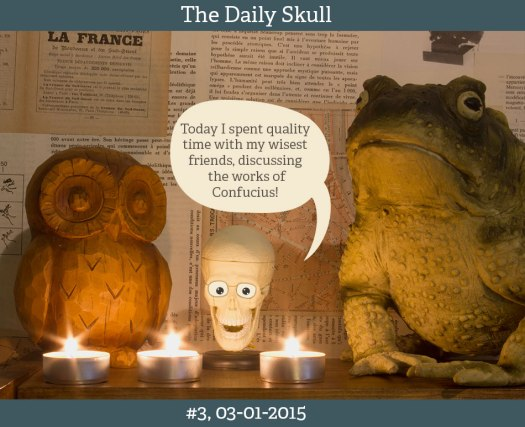 """Daily Skull 2015, #3, Text: """"I spent some quality time with my wisest friends, discussing the works of Confucius""""."""