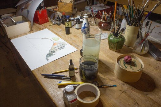 drawing table mess
