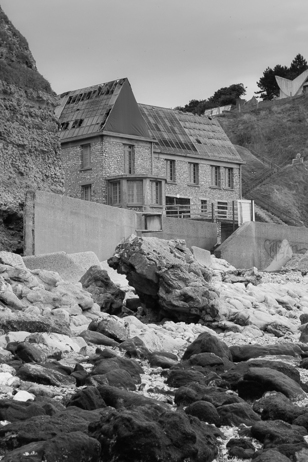 Coast near Bruneval, Normandy, France, derelict building