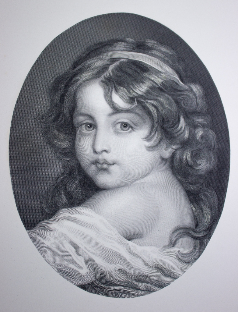 Reproduction engraving of 'Childhood' by Greuze. Royl Collection, Buckingham Palace.