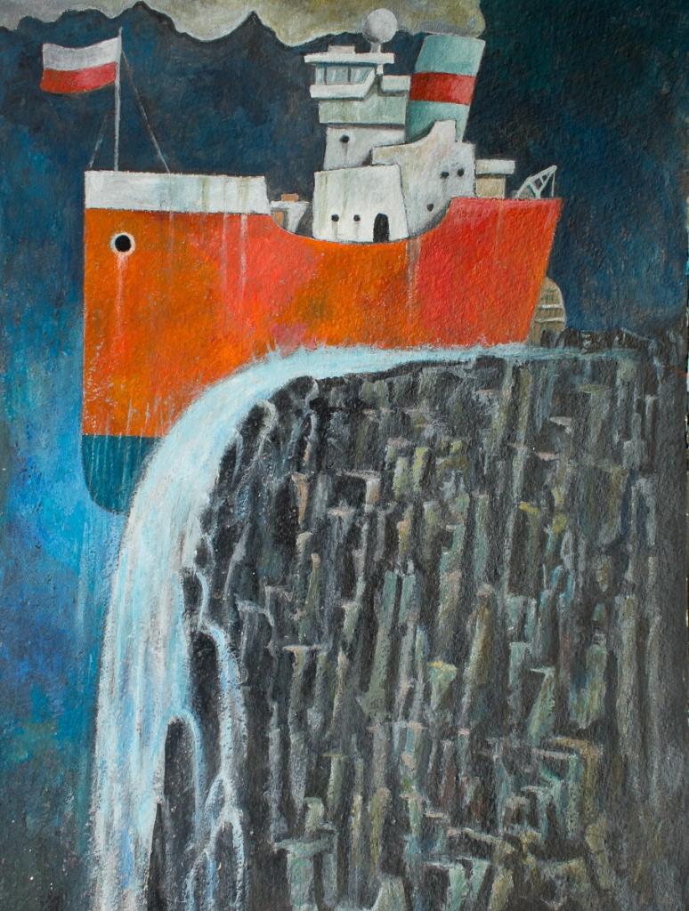 Over the edge, acrylic on paper, Eelco Bruinsma 2015