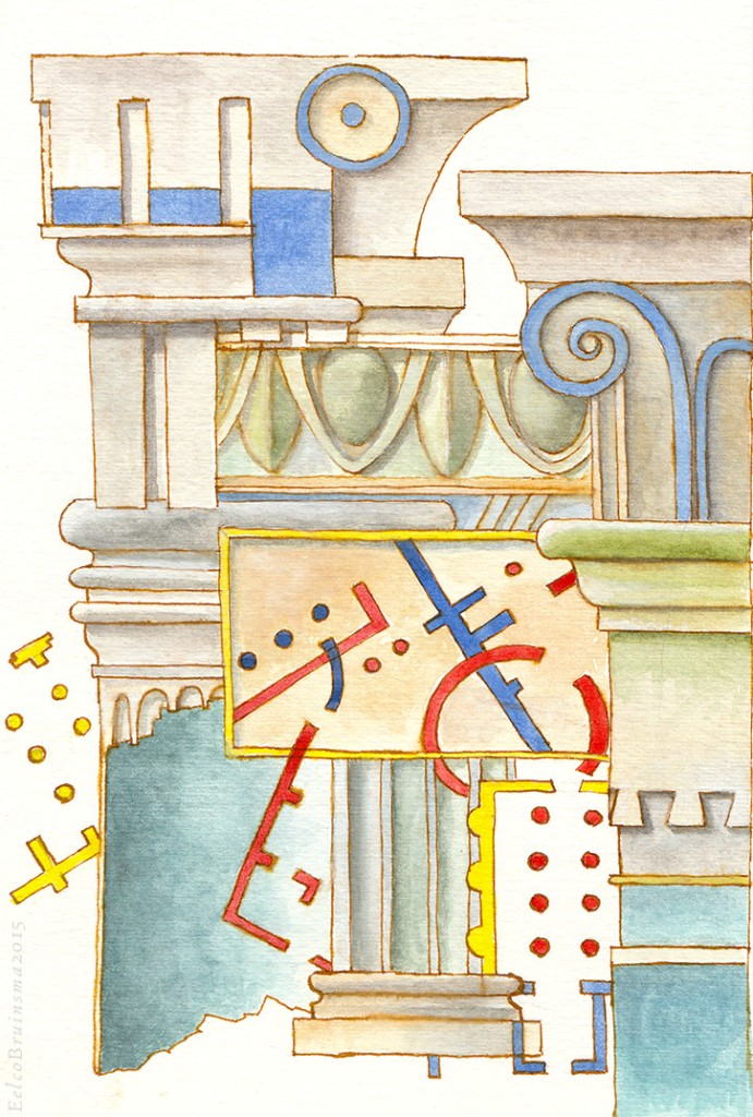 Drawing. Architectural elements. Watercolor and sepia ink. Eelco Bruinsma 2015.