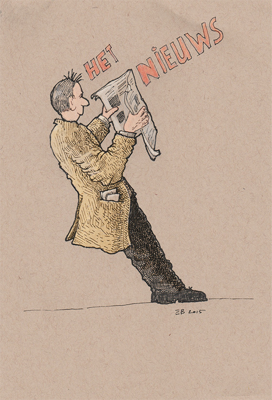 Het Nieuws - The News. Ink and pencil on Strathmore toned tan (118gsm. 14 x 21,5 cm). Eelco Bruinsma 2014