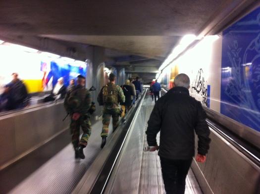 'Brussels Blues'. Metro 'De Brouckère', Brussels, belgium.