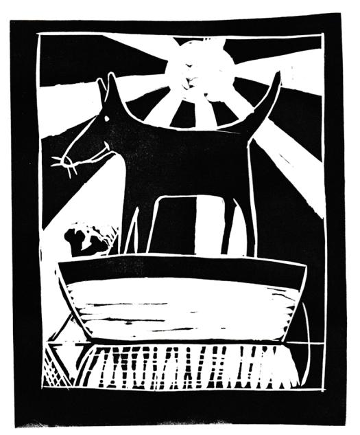 """""""Hond in een boot"""" ('Dog in a boat). Linoleum print. 2015"""