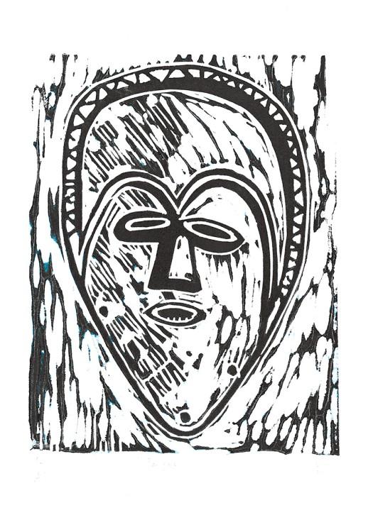 Linocut of Pangwe mask