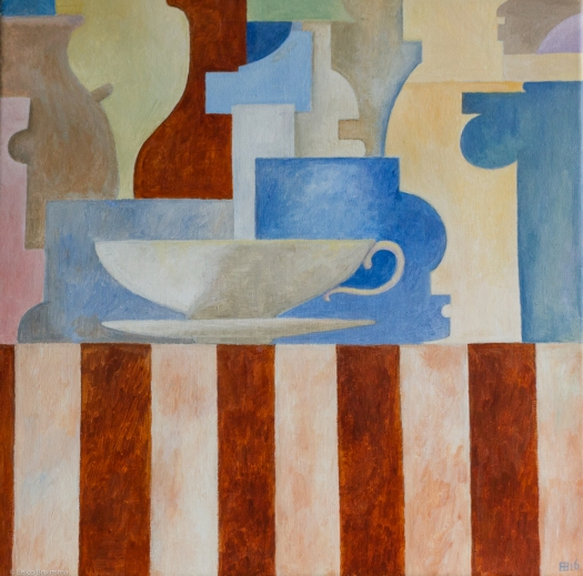 Painting of a teacup on a striped surface with abstract objects in the background. Eelco Bruinsma. Acrylic on canvas.