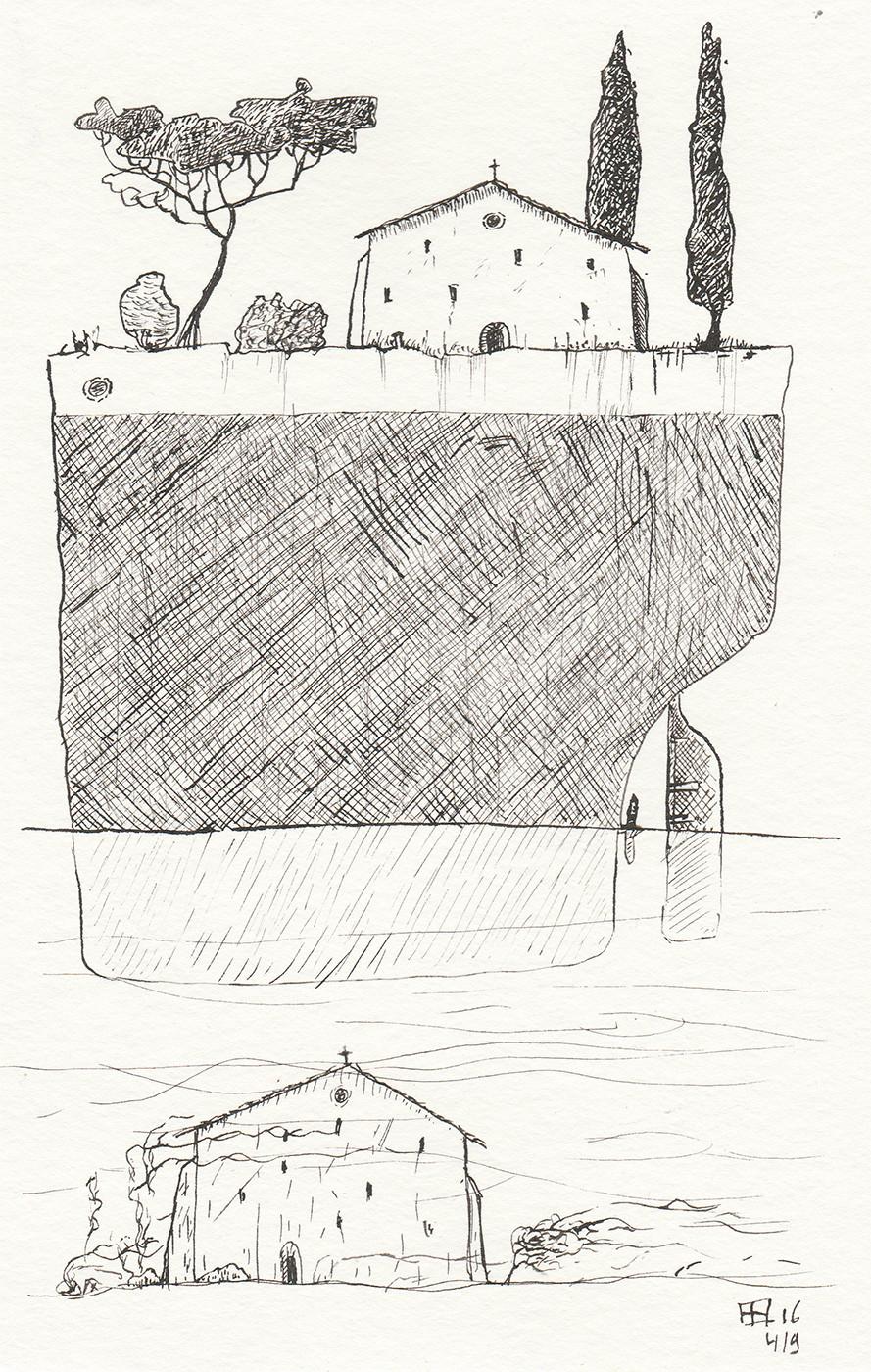 Pen drawing of church on ship