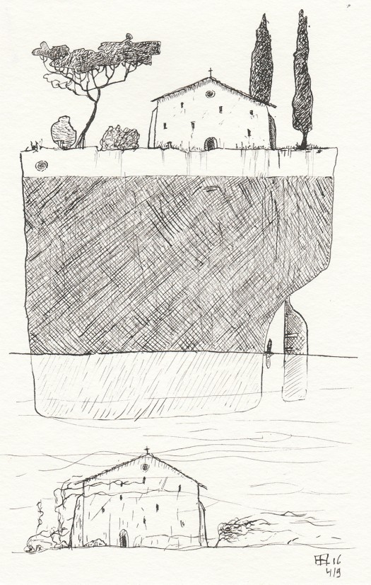 Pen drawing of church on ship