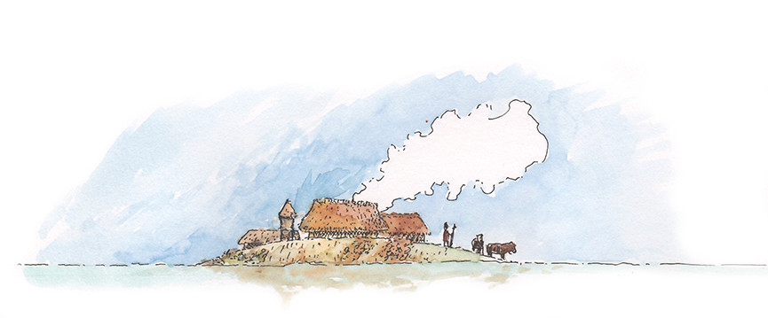 Illustratie van terp bij hoog water - illustration of dwelling mound at high tide