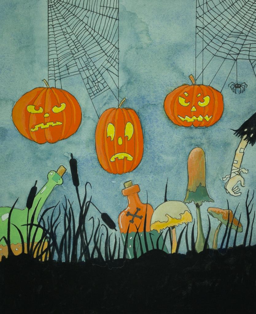Pumpkins Galore!. By Eelco Bruinsma, watercolour, gouache, India Ink 2017