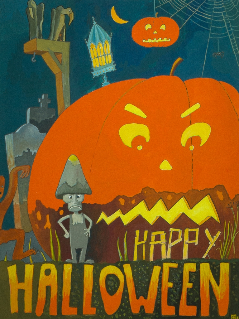 Happy Halloween. Gouache by Eelco Bruinsma, 2017. Halloween theme with text.