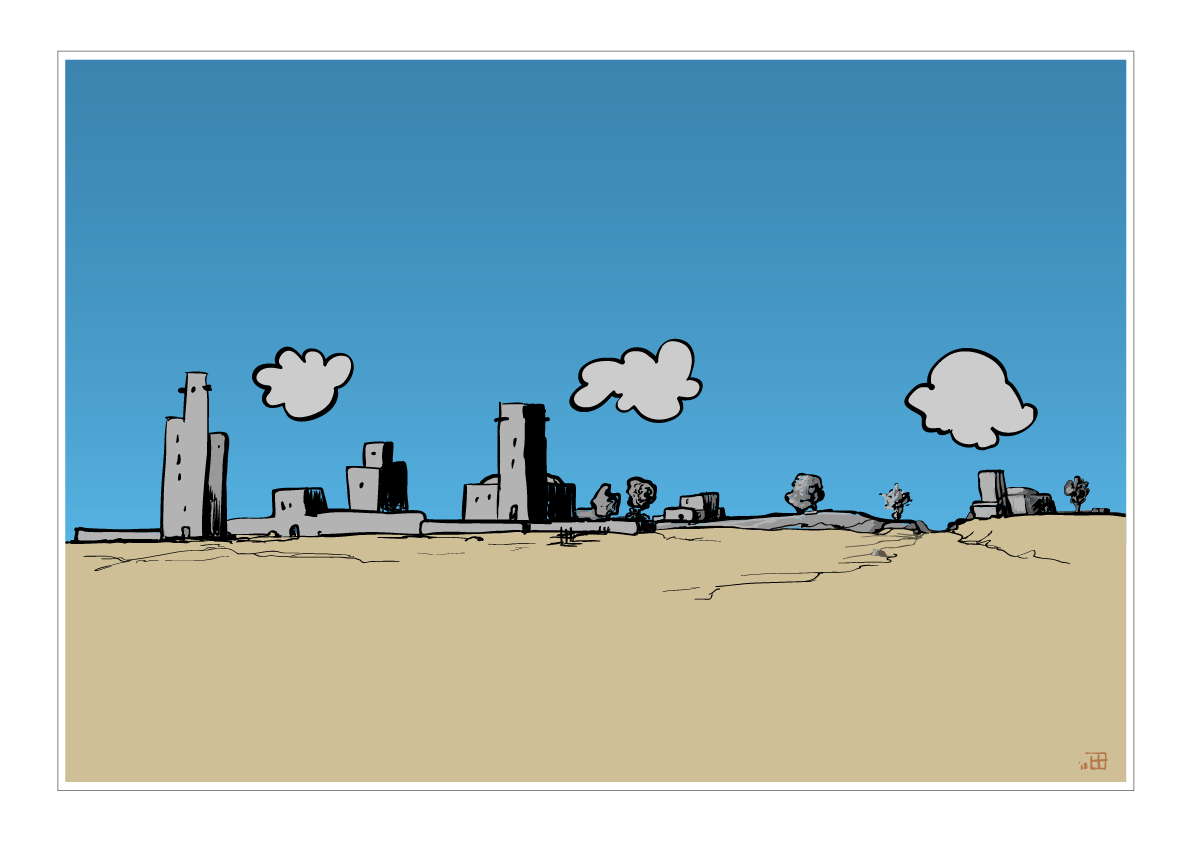 Cartoon of desert with buildings.