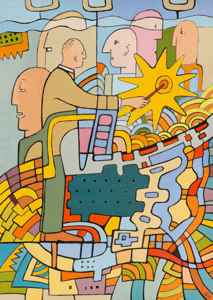 Gouache drawing of colourful shapes and fragmented people by Eelco Bruinsma