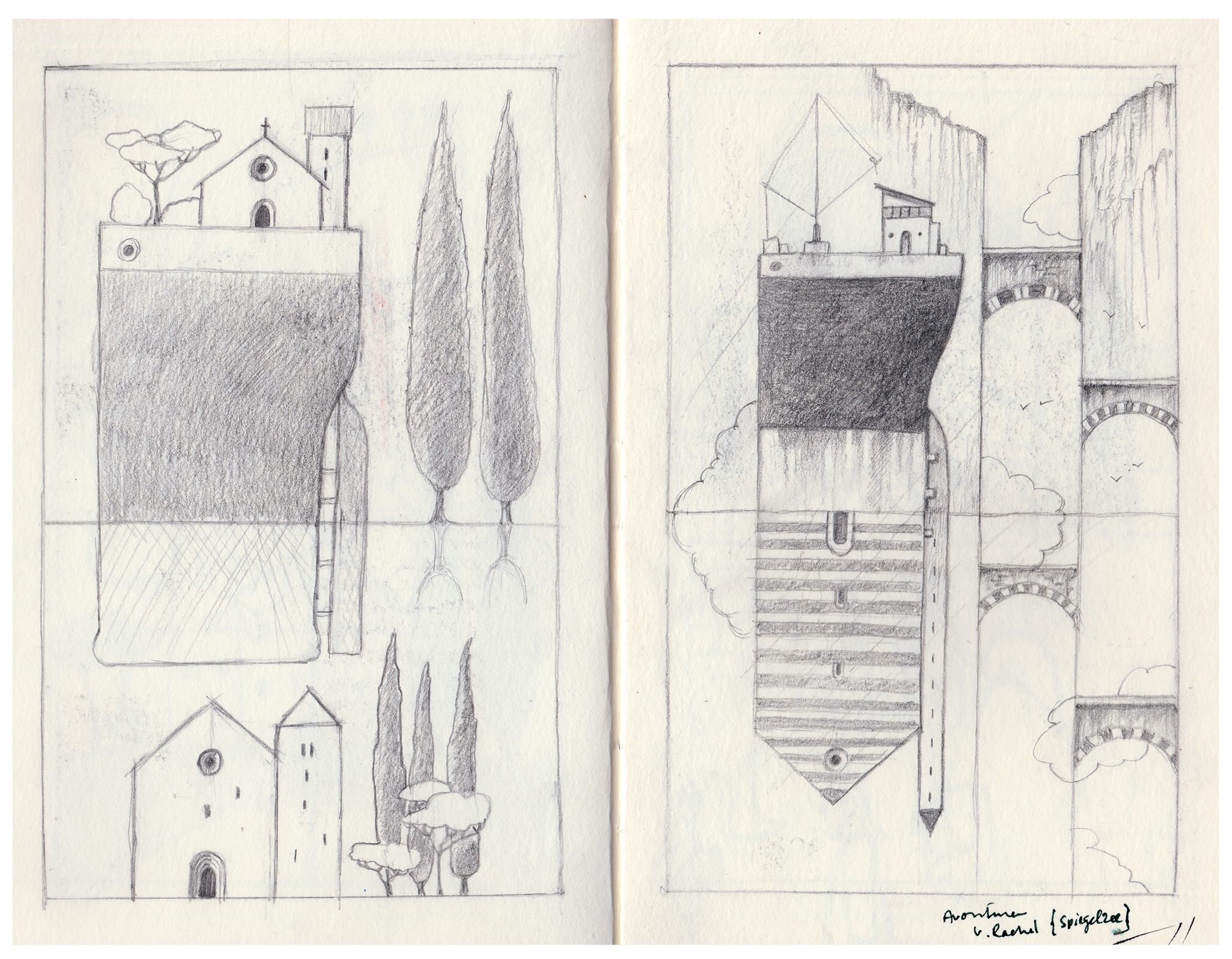 Page from my Hahnemühle sketchbook. Both sketches made it into paintings.